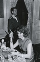 Susan Watson smoking a cigar at the 21 Club in NYC birthday party for Katharine Johnson